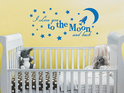 I love you to the moon and back - Childrens Baby Bedroom Nursery wall vinyl