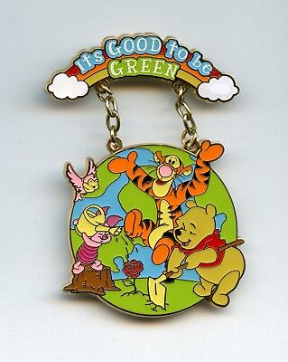 Disney Shopping It's Good to Be Green Pooh Piglet Tigger Planting Rainbow LE Pin