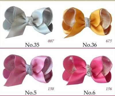 """50 BLESSING Girl 4.5"""" Two Tone ABC Bow Clip Silver Powder Ribbon Hairb Bow Baby"""