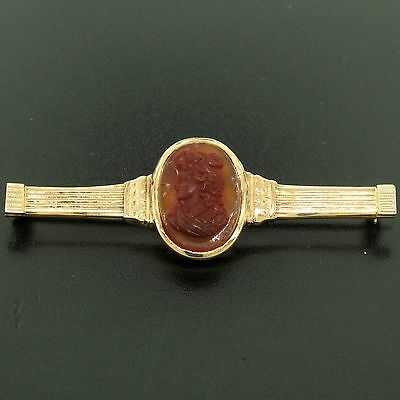 Antique Victorian 15k Solid Rosy Yellow Gold Carved Carnelian Bar Pin Brooch