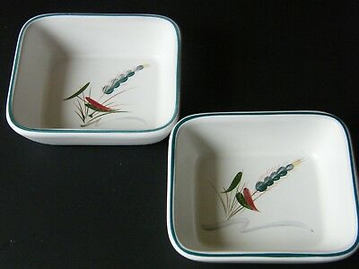 Bourne Denby Stoneware Nibbles Dishes Hand Painted A College 12.5 cm