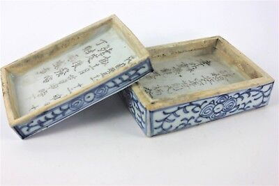 18th 19th c Chinese Blue White Porcelain Scholars Calligraphy Script Box Cover