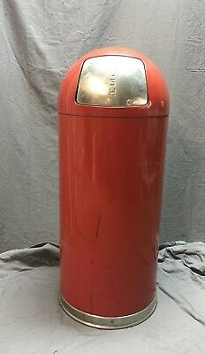 Vintage Firehouse Red Trash Can Waste Receptacle Dome Top Push Lid Can 138-18C