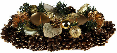 Gold Christmas Table Centre Piece Candle Holder 30 cm Decoration