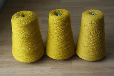 Delaine Turbo Acridel Acrylic Yarn Old Gold 3 Cones 1Lb 6 Oz Lace Weight