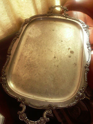 """Vintage Birmingham Silver Co. Silver On Copper Footed Serving Tray 17"""" By 28.5"""""""