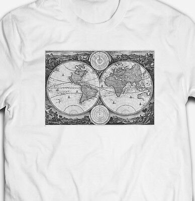 Vintage World Map T-Shirt 100% Cotton Classic Old Retro Tee Top