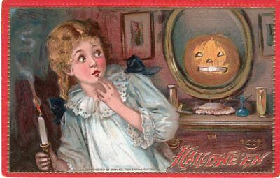 Halloween Postcard By Tuck, Raphael & Sons, Series 174, Girl Shy Away From Jol.
