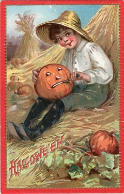Halloween Postcard By Tuck, Raphael & Sons, Series 174, Boy Carving Jol.