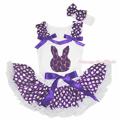 Easter Rose Bunny White Top Purple White Polka Dot Baby Girls Skirt Outfit 3-12M