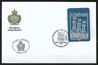 San Marino 2017 Embroidered coat of arms of castle Stickerei embroidery FDC Rar!