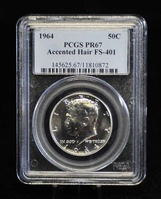 1964 PCGS PR67 Accented Hair FS-401 Proof Silver Kennedy Half Dollar [10DUD]