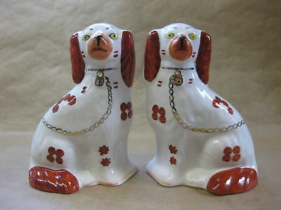 Pair of Vintage Arthur Wood Spaniel Dogs ~ Mantel / Wally Dogs ~ Red & White