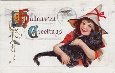 Halloween Postcard Published By Stecher, Series 332-F, Used In 1914.