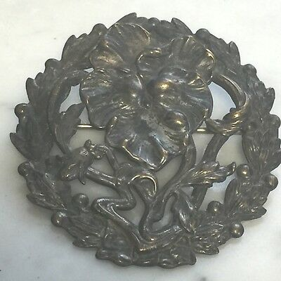 """Antique Art Nouveau Pansy Embossed Cut Out Flower Pin Brooch Brass 2"""" Pansies"""