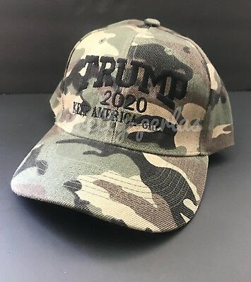 Donald Trump 2020 Cap Mossy Oak camo hat on visor USA 🇺🇸 Trump Make America