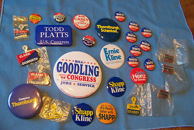 Lot of 25 Pennsylvania Political Buttons Pinbacks Goodling Shafer Casey Platts