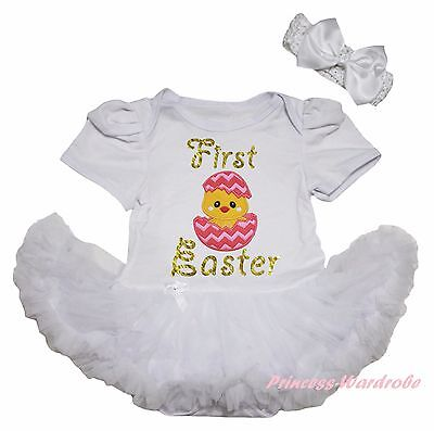 Personalize 1st Easter White Bodysuit Rainbow Chevron Baby Dress Leg Warmer 0-18