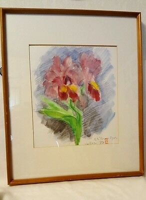 Lovely Vintage Japanese Yosi. Ito (1867-1942) Org. Watercolor Painting On Paper