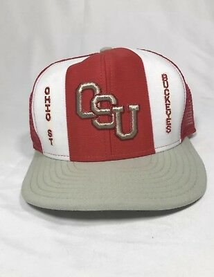 1a314bbeb35 Vintage Ohio State Buckeyes SnapBack Mesh Hat AJD Lucky Stripes Double Knit  Cap