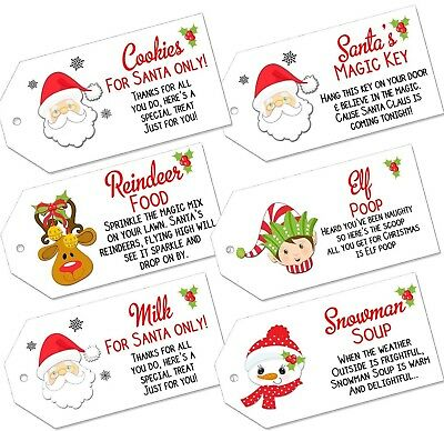 Christmas Labels Magic Reindeer Food Santas Key Milk Snowman Soup Elf Poop Tags