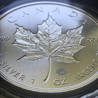 2018 Incuse Maple Leaf Canada 1 Troy Oz $5 Silver .9999 Fine Coin - Gem BU