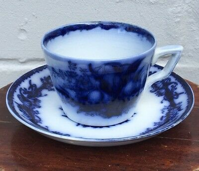 Antique Victorian Flow Blue Earthernware Tea Cup & Saucer Duo c1880 (x12)