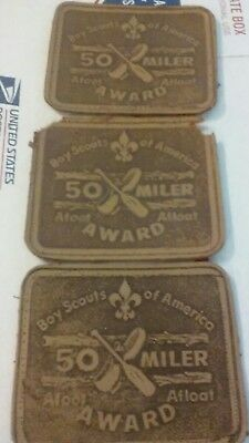 Vintage BSA Boy Scouts Lot of 3 50 MILER AWARD Boat & Hike LEATHER Patches