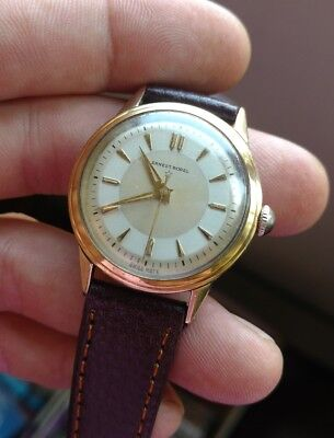 Vintage Ernest Borel two tone case gold over stainless Mens Wristwatch