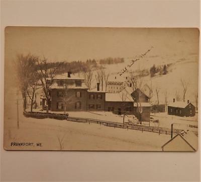 Antique Real Photo Postcard View of Village Frankfort Maine RPPC Hill Side House