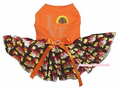 Thanksgiving Love Orange Cotton Top Brown Turkey Tutu Pet Dog Puppy Dress