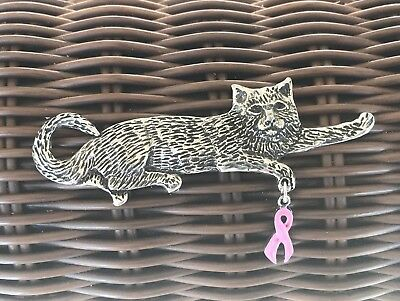 1 CAT PIN with RIBBON for BREAST CANCER AWARENESS PEWTER PIN All New.
