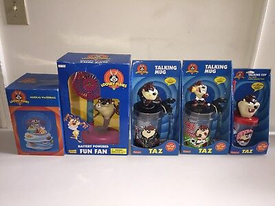 5 Pc Lot NEW Looney Tunes Tazmanian Devil Lot TAZ Talking Cup Mug Fan 1990s