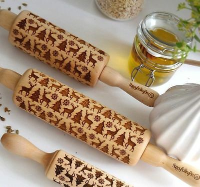 Laser Engraved Pastry Cake Baking Toll Stick Wooden Dough Roller Rolling Pin TKL