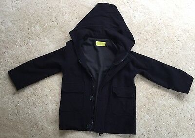 Boys Size 7 Jacket Coat With Hood. Chalk N Cheese. Pure Wool