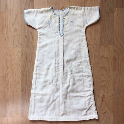 Vtg White Flannel Blue Embroidery Infant/Doll Short Sleeve Gown Trim No Size