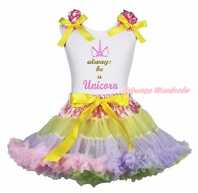 Always Be A Unicorn White Cotton Top Dot Waist Rainbow Girls Skirt Outfit 1-8Y