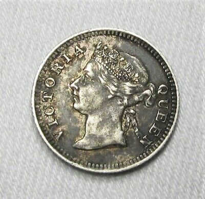 1901 Straits Settlements 5 Cents .800 Silver XF Coin AG344