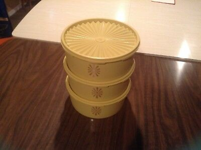 Lot of 3 Vintage Tupperware Servalier Canisters 1204-11 Yellow w/ Servalier lids