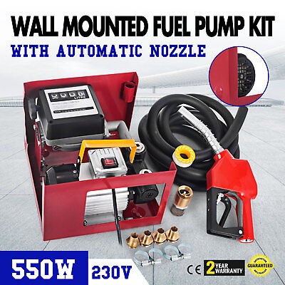 230V Wall Mounted Diesel Electric Transfer Fuel Pump Kit Automatic Nozzle Red UK