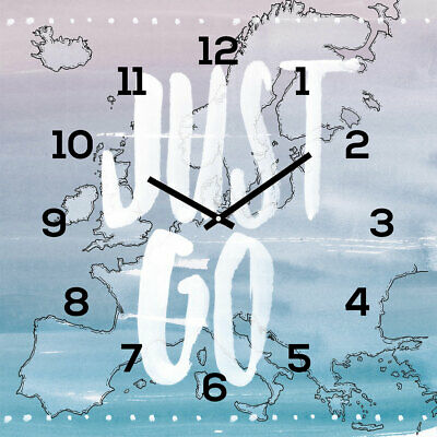 Levandeo Wall Clock Glass 30x30cm Watch Travel Just Go Vacation