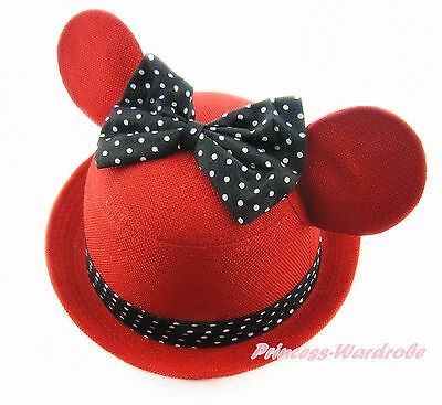Black Minnie Ear Red White Dots Bow Lacing Round Cap Kids Children Girl Hat