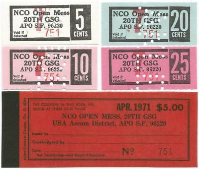 """1971 KOREA 5-10-20 & 25¢ """"NCO Open Mess CHITS"""" From Original 20TH SUPPORT GROUP"""