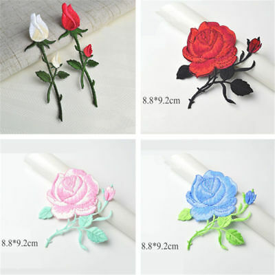 1/2pcs Rose Bud Branch Flower Embroidery Applique Iron On Patch DIY Sewing Craft