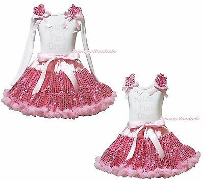 My Little Pink Dress White Top Pink Bling Sequins Girls Skirt Outfit Set 1-8Year