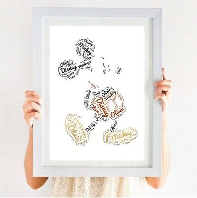 Personalised Disney Mickey Mouse Word Art Picture/Poster Gift Birthday Christmas