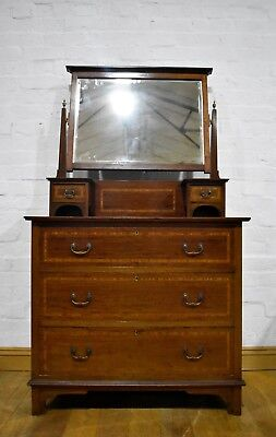Antique inlaid mahogany vanity dressing table - chest of drawers