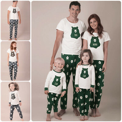 Christmas Kid Adult Family Matching Pajamas Set Sleepwear Nightwear Bear Costume