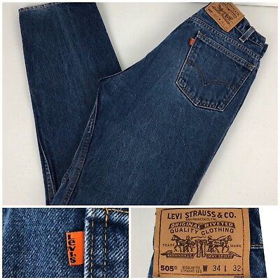 Levis 505 Vintage Orange Tab Mens 34 X 32 Jeans Blue Rare Made In USA Straight