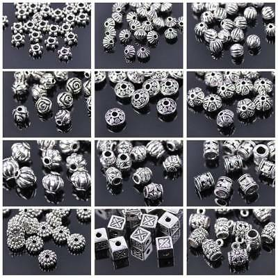 Wholesale 50Pcs Tibetan Silver Metal Charms Loose Spacer Beads Jewelry Findings